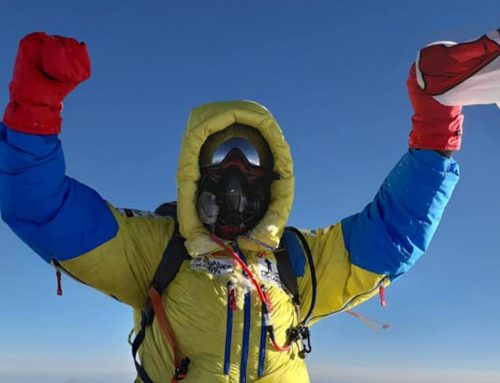 Brendan summits the highest mountain in the World in 65 Degrees North challenge